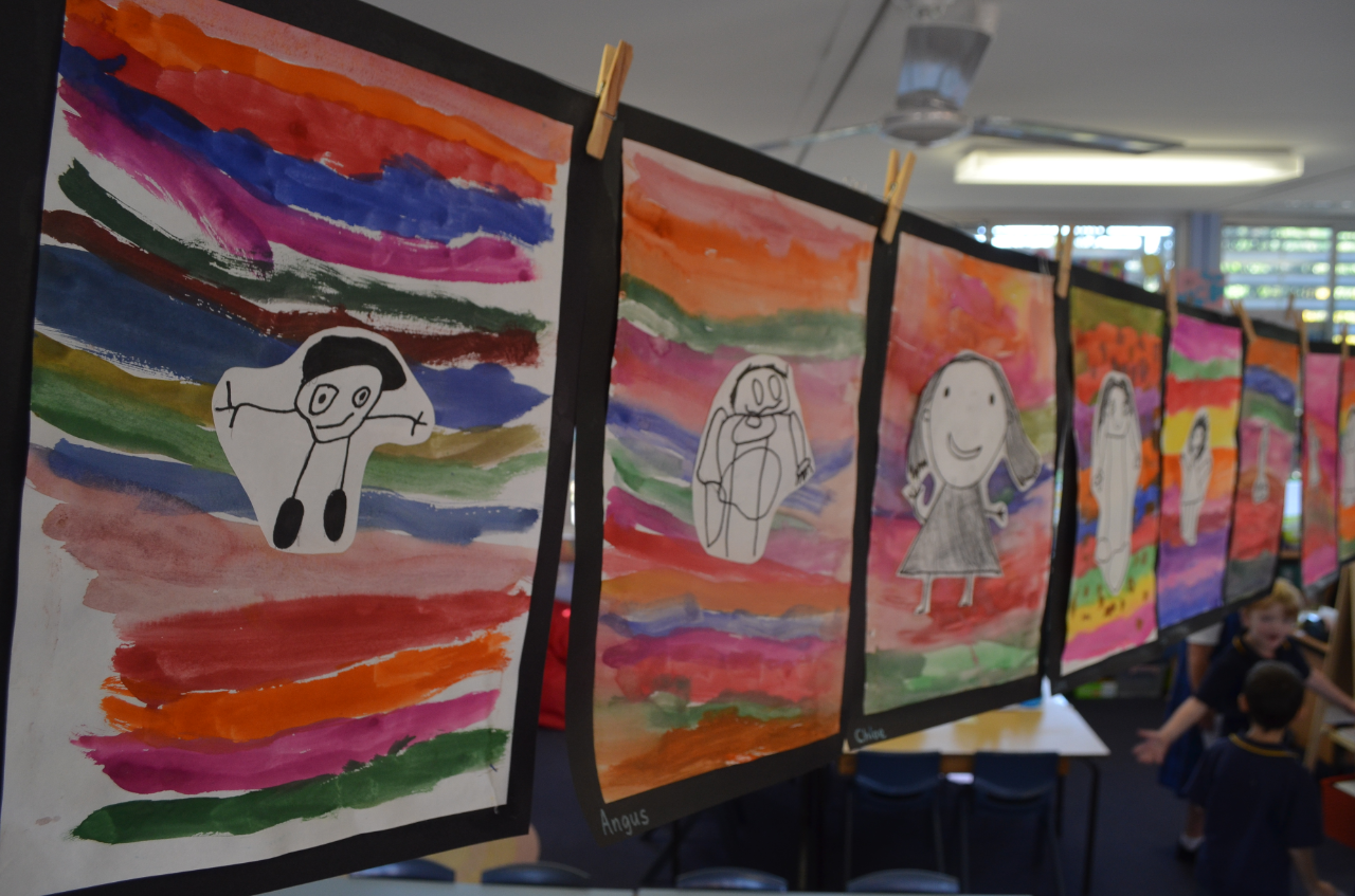kindergarten self-portrait paintings