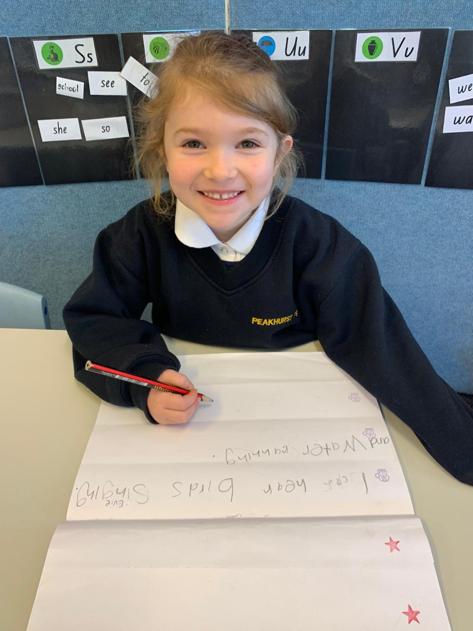 Kindy kid writing